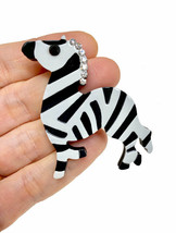 "2"" Tall Large Black & White Acrylic Zebra Brooch Pin C Clasp Animal Jewelry - $14.91"