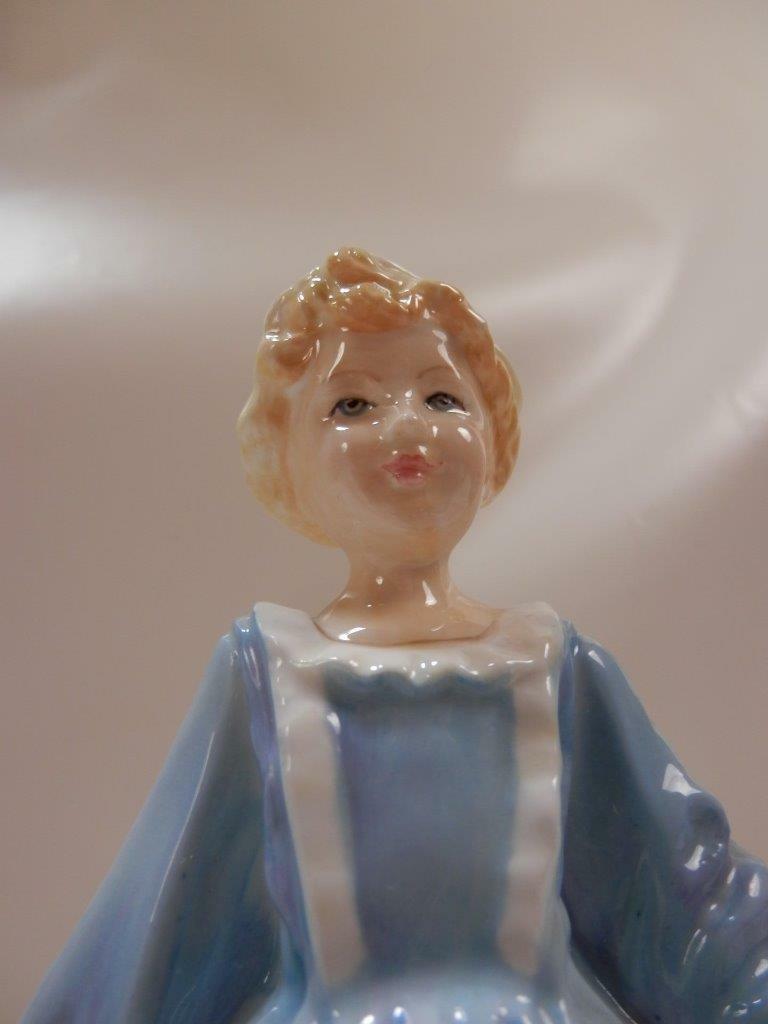 Vintage Royal Worcester Porcelain Figurine Grandma's Dress In Blue F.E. Doughty