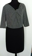 New Directions SZ 8 Gray Tweed And Black Dress Ruched Front 3/4 Sleeve C... - $18.76