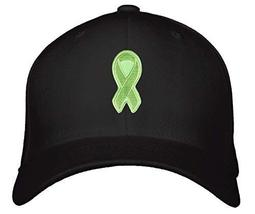 Green Ribbon Awareness Hat - Unisex Adjustable Cap (Black) - $17.05