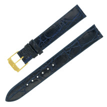 Movado 15-14 mm Dark Blue Crocodile Leather Men's Watch Band 3G1514R - $89.00