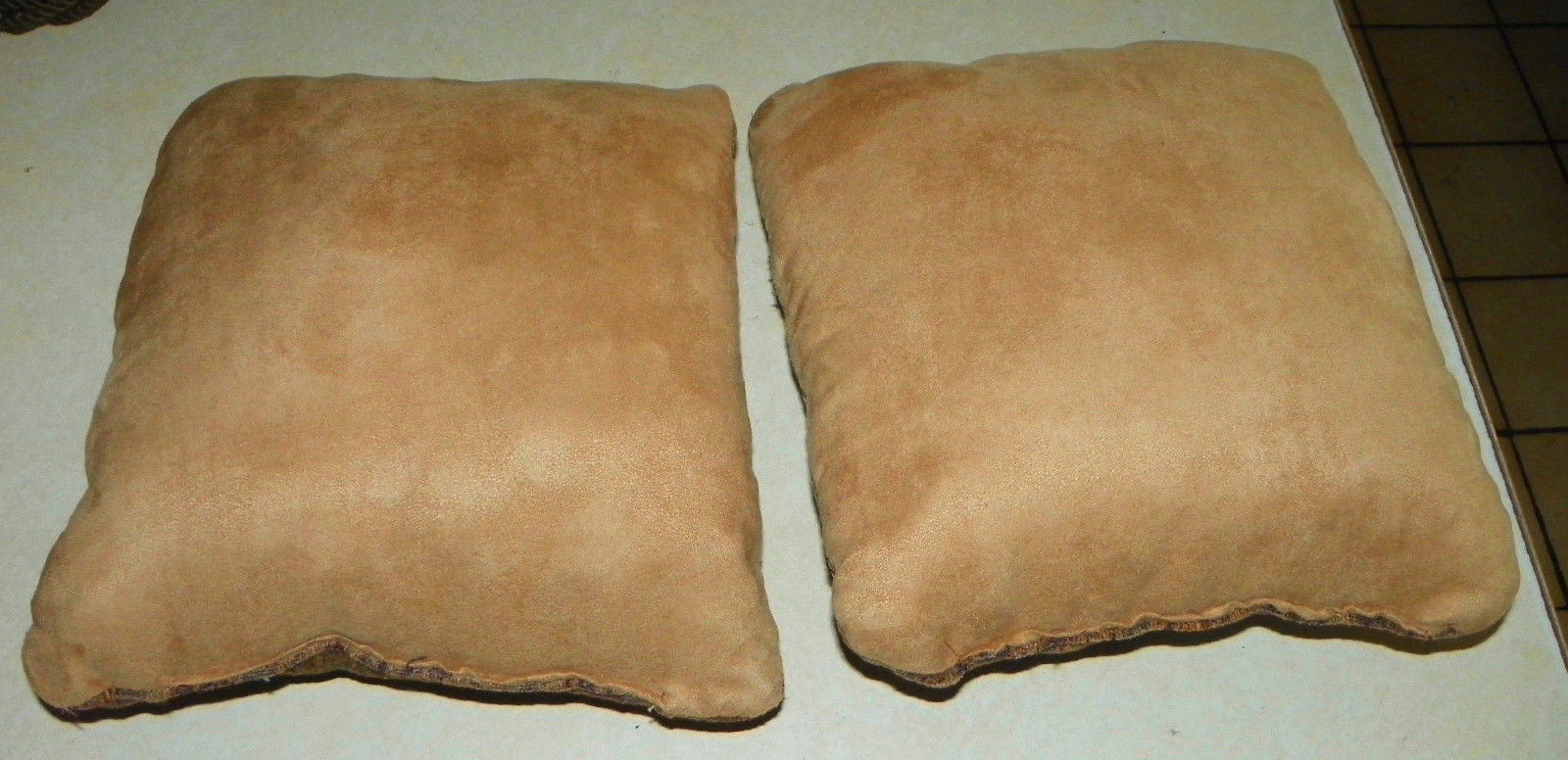 Pair of Brown Plum Beige Print Throw Pillows  14 X 14