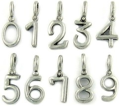 NUMBER HANGING FINE PEWTER PENDANT CHARM,  Approximately 9x14mm with 4mm Hole