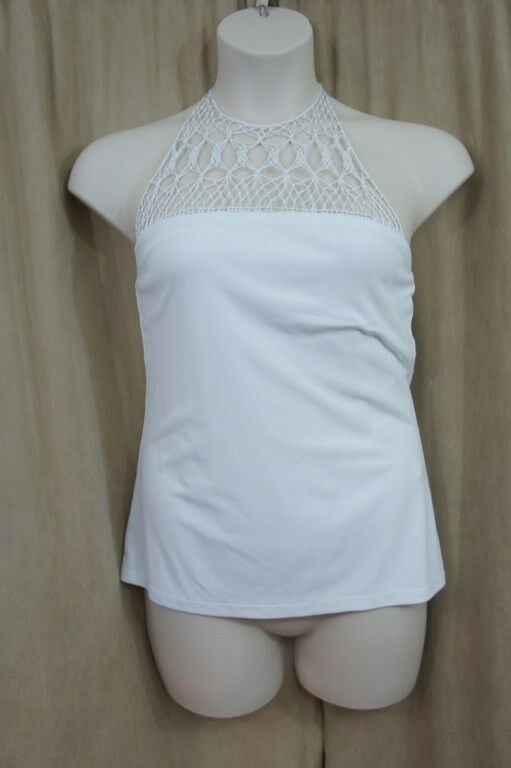 Ralph Lauren Top Sz M White High Neck Crochet Halter Casual Cocktail Top