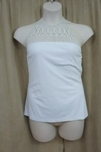 Ralph Lauren Top Sz M White High Neck Crochet Halter Casual Cocktail Top   - $41.82