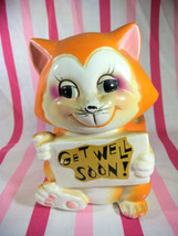 MOD Vintage Get Well Soon Kitty Cat Planter • Meow - $14.00
