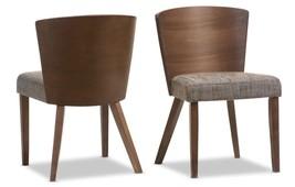 Set of 2 Dining Mid-Century Wood Chairs Retro Modern Grey Fabric Upholst... - $242.55