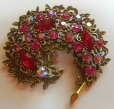 Vintage Signed Emmons Prong-set Red & AB Stone Brooch - $69.50