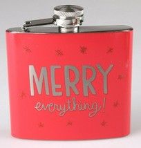 Merry Everything Metal Pocket Hip Flask 5 oz Christmas Alcohol Whisky Vodka NEW