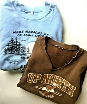 Lot of 2 Vintage Sweatshirts Men's Size XL Hunting Fishing Up North Mich... - $24.02