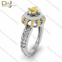 Art Nouveau Wedding Ring For Womens 0.85cttw Yellow CZ Engagement Ring F... - €139,05 EUR+