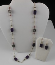 Purple/Pink Beaded Necklace and Earring Set - $17.81