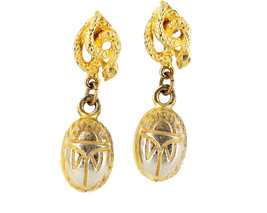 Vintage Egyptian Revival Asp Snake & Scarab GoldTone Drop Dangle ClipOn ... - $59.39