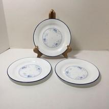"""3 Salad Plates Celestial Blue Corelle 7"""" Blue Floral Swirl Blue Rim  - $14.50"""