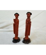 Antique Chinese Carved Bakelite Mother Daughter Figure Pair Women c.1920 - $252.23