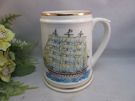 Vtg beer stein mug with beautiful sailing ship decal. Nautical decor. Japan - $16.99