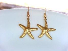 Gold Starfish Earrings Gold Starfish Charm Earrings Nautical Jewelry - $22.00
