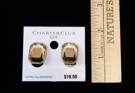 NWT Charter Club Clip Earrings Citron Color Rectangle Facet GoldTone Hypo Allerg - $9.40