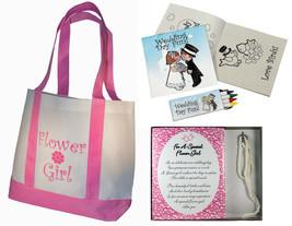 Best Flower Girl Gifts Set Tote Bag Necklace Bracelet Wedding Day Activi... - $17.42