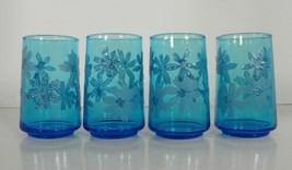 Swanky Swigs Blue Glass Juice Tumbler (s) LOT OF 4 Flowers Vintage - $18.29