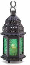 Gifts and Decor Green Glass Moroccan Candle Holder Hanging Lantern - $38.02