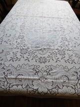 """Vintage Ecru color Lace Tablecloth floral patern Quaker 56"""" x 96"""" table ... - $64.35"""