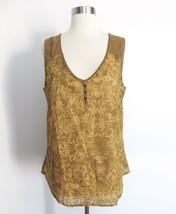 Eddie Bauer sz LARGE yellow botanical print sleeveless sheer blouse top - STAINS - $26.99