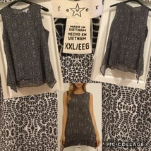NEW! Fever Ladies Sleeveless Tunic Top Sz XXL Black & Cream Floral Polye... - $12.86