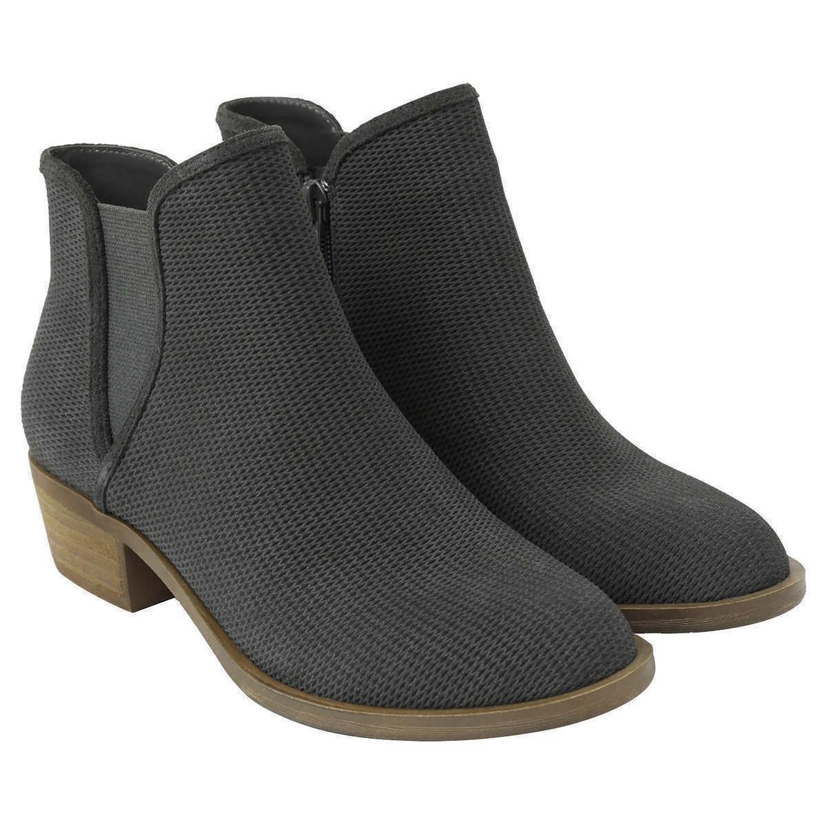New Kensie Women's Dark Grey Patterned Suede Gerona Short Ankle Boots Booties