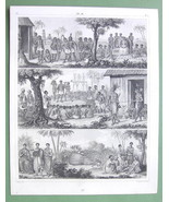 AFRICA Natives Funeral Elephant Hunting Human Sacrifices - 1844 Antique ... - $16.20