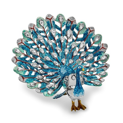Bejeweled Blue Peacock Trinket Box
