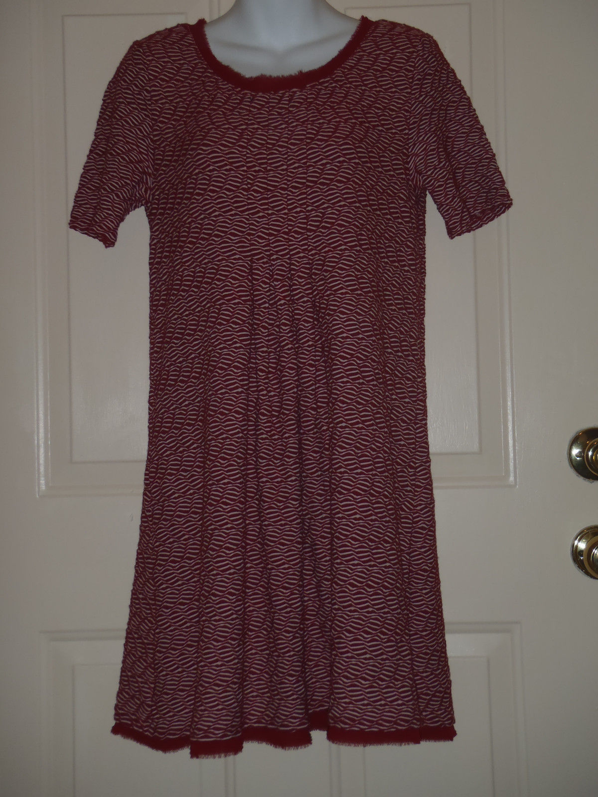 Maeve Anthropologie Maroon White Squiggles Pleated Knit Dress Raw Edges MEDIUM M