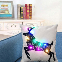 "Beautiful Christmas Decoration Reindeer Lighted Lights Pillow Case 18"" x... - $15.00"