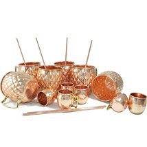 Rastogi Handicrafts Diamond Cut Copper Beer,Wine,Vodka Mug (Capacity 16.90 oz) W