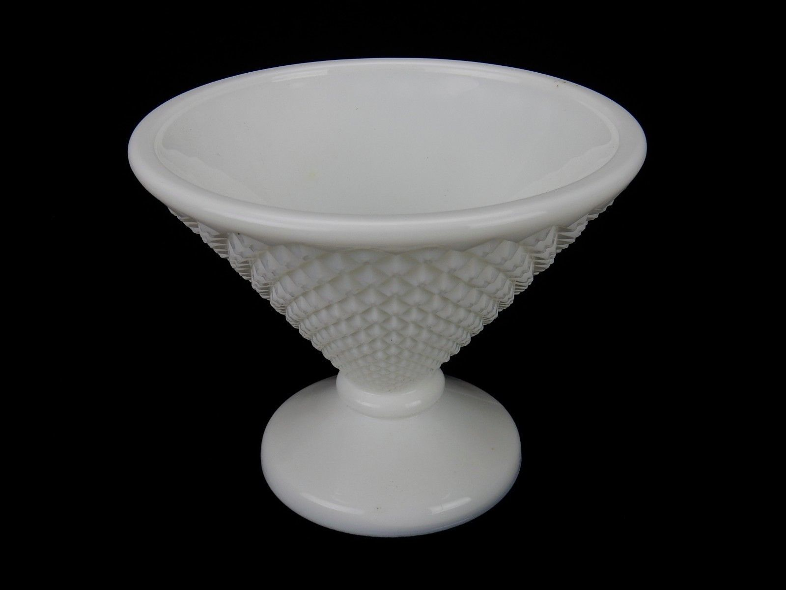 Primary image for Vintage Westmoreland Tapered Candy Dish, Graduated Diamond Cut Milk Glass, 1950s