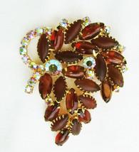"Amber stones & iridescent rhinestone pin vintage 2 1/4 x 3"" - $27.23"