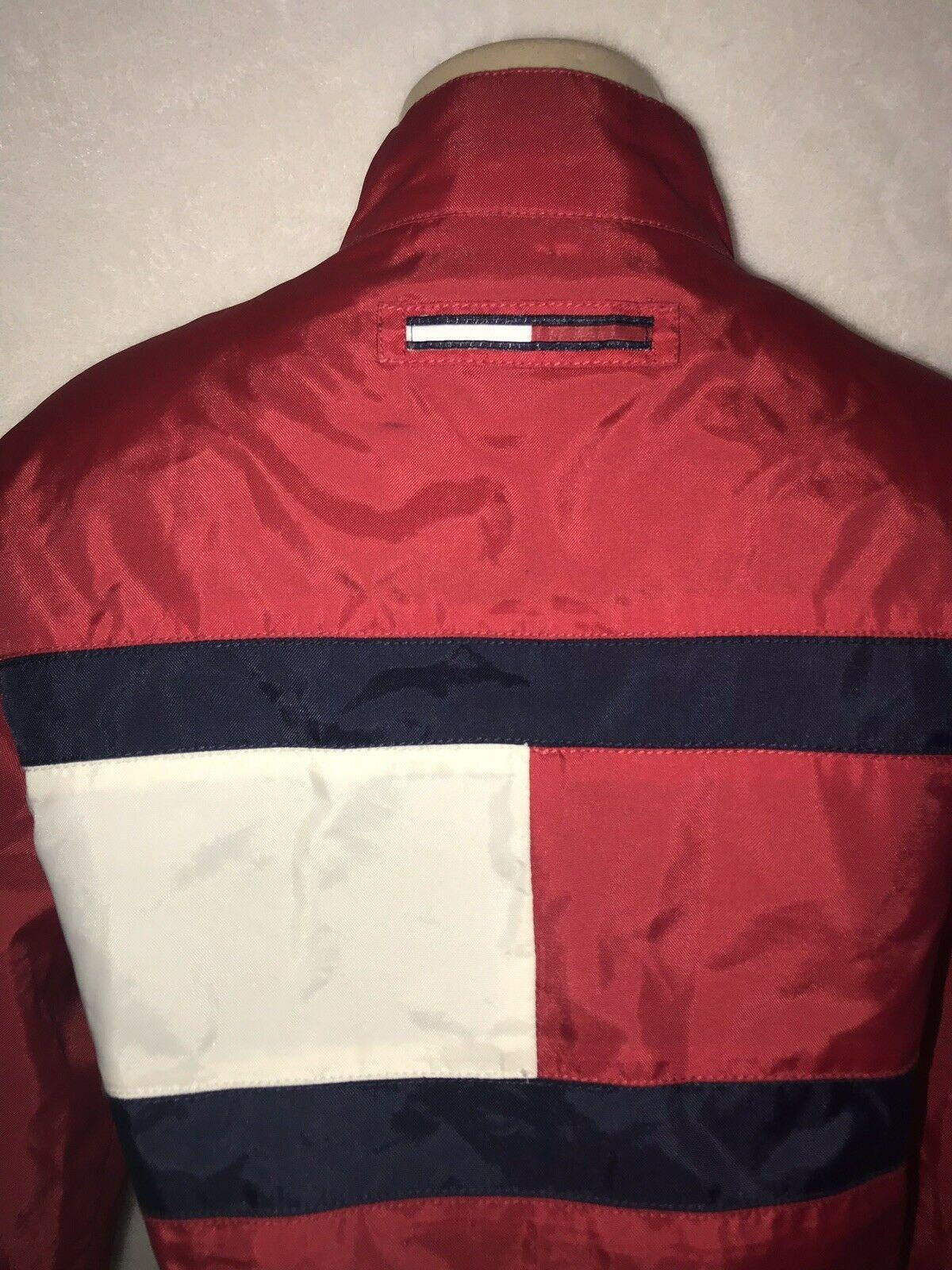 Vintage 90s TOMMY Jeans  HILFIGER Big Flag Logo Nylon Crop Jacket Colorblock S image 8