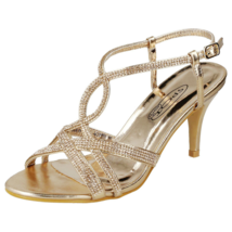 Ladies Party Shoes Low Heel Bridal Sandals Gold Prom Slip On Ankle Strap... - $23.39