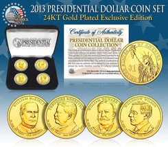 2013 USA MINT GOLD PRESIDENTIAL $1 DOLLAR 4 COINS SET WITH BOX - $21.03