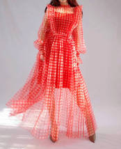 Red Long Tutu Dress Gowns Long Sleeve Vintage Inspired Pink Plaid Pattern image 6