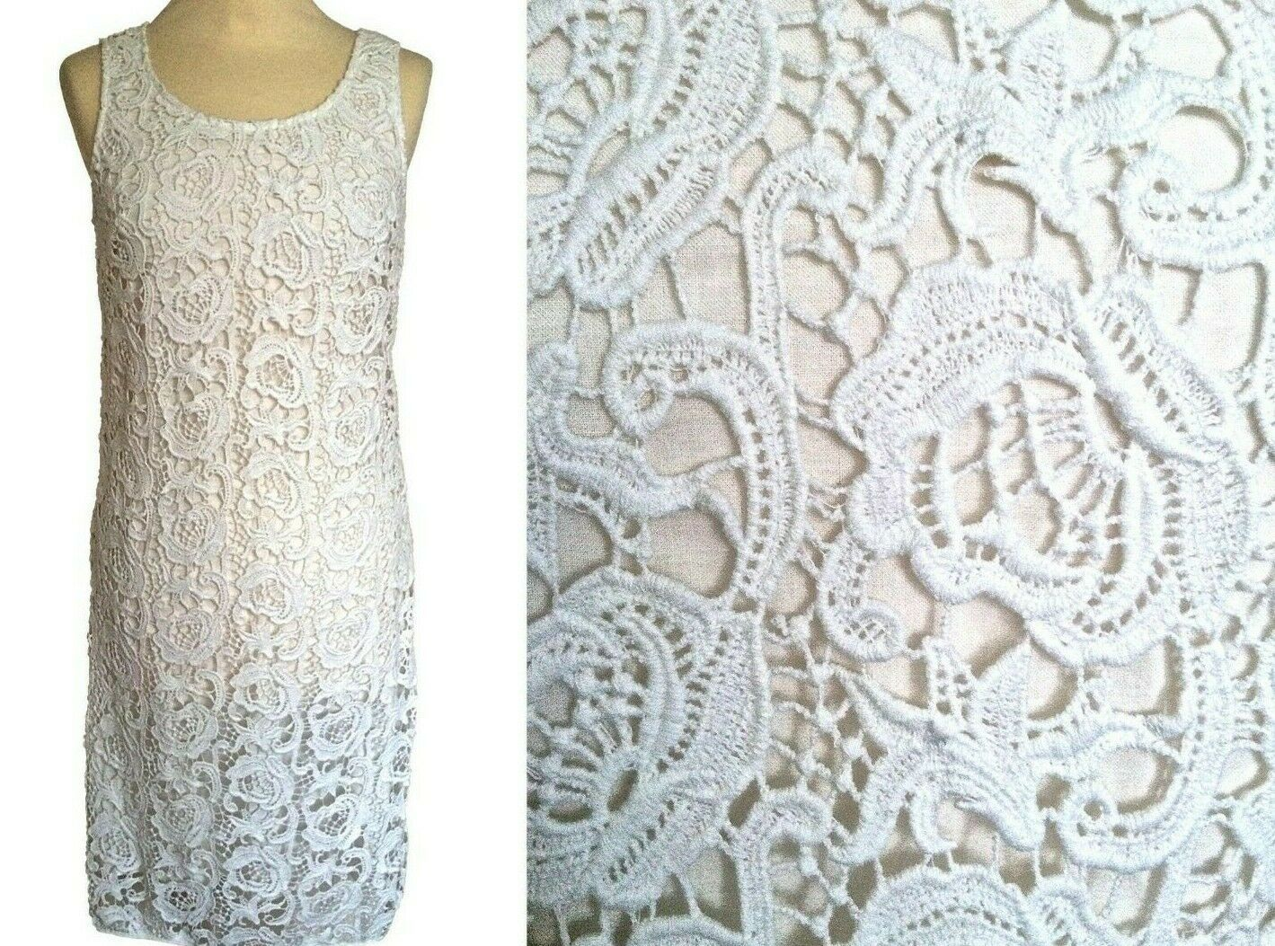 BNWT 100% Cotton Lace Parisian Little White Occasion Cocktail Wedding Dress sz S