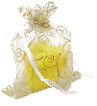 KINGWEDDING 100pcs Gold and White Print Organza Bags 3 by 4 inches - $17.02