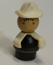 Fisher Price Little People Fireman White Hat / Arms Wood Body & Head VTG RARE - $9.89