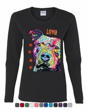 Colorful Dean Russo Pitbull Women's Long Sleeve Tee I Love My Dog Pet Lo... - $11.55+