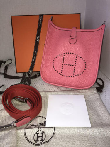 NEW-Auth HERMES Rose Azalea Clemence Evelyne Mini TPM Messenger/Shoulder Handbag image 10