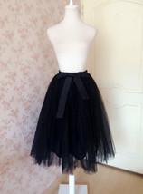 WOMEN BLACK Tea Length Midi Tulle Skirt Plus Size Black Tulle Skirt With Bow NWT image 2