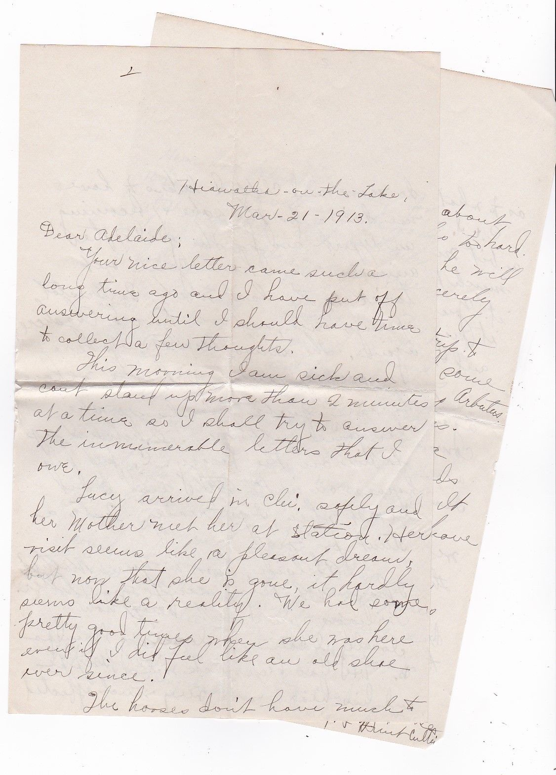 NAPLES, NY MARCH 21 1913 WITH LETTER