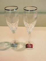 Set of 2 Gorham Diamond Platinim Flute Full Lead Crystal Flute Germany (NEW) - $49.45