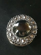 Vintage W. Germany Marked Round Faux Hematite Cab Rimmed in Faux Marcasi... - $13.09