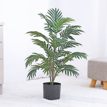 Tropical Palm Large Tree Green Plant Branch Silk Palm Leaves Faux Monste... - $32.89